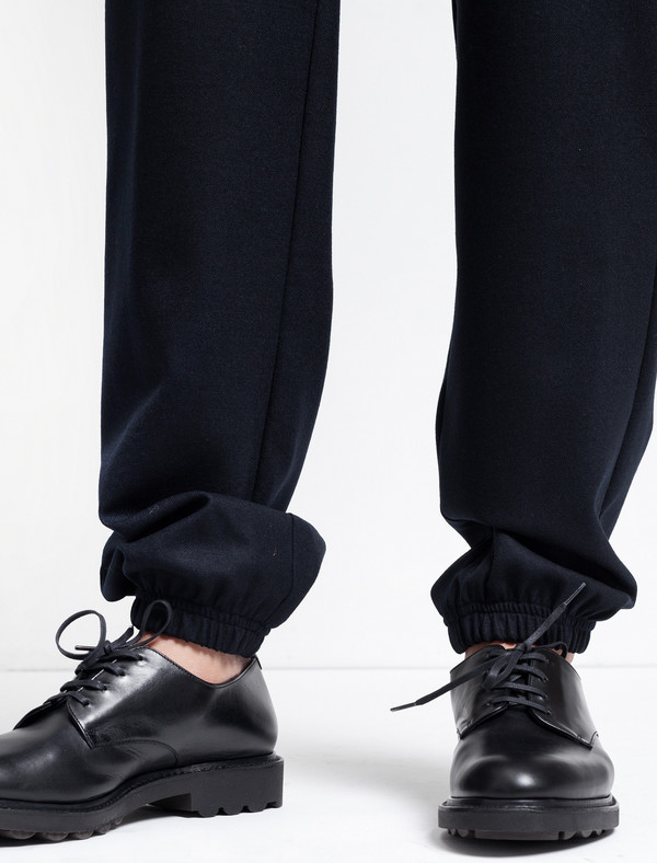 Sunspel Tapered Wool Trouser Navy
