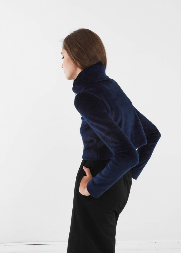 Carleen Navy Funnel Neck Sweater