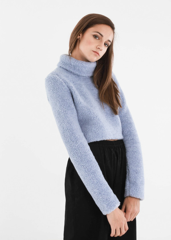 Carleen Powder Funnel Neck Sweater