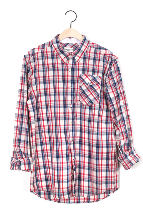 Men's Thomas White Plaid Button Up