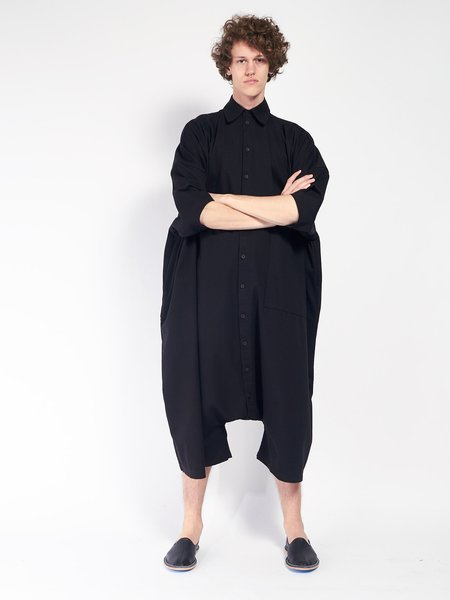 Unisex 69 Big Button Up Jumpsuit - Black