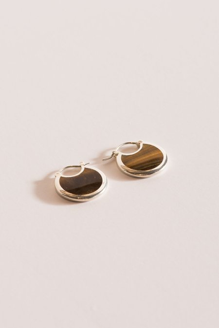 Pamela Love Mojave Hoops in Sterling Silver with Tiger's Eye