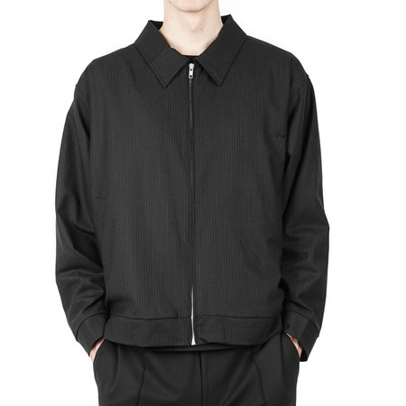 SECOND / LAYER Oversized Blouson - Black Pin Stripe