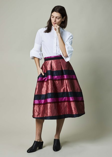 Odeeh A-Line Stripe Pleated Skirt