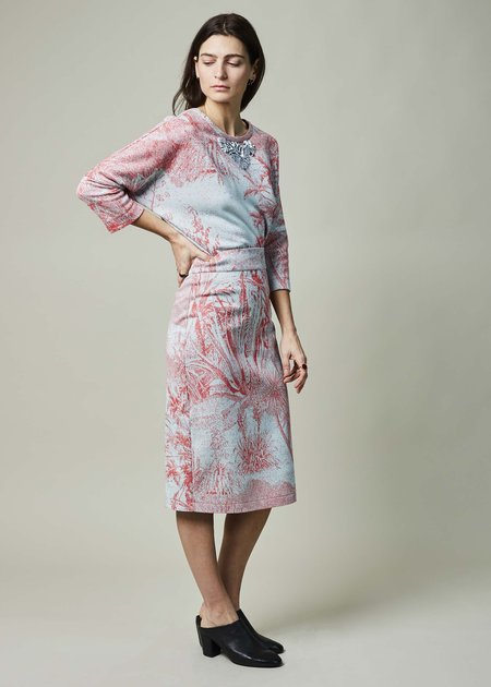 Odeeh Floral Woven Fitted Skirt