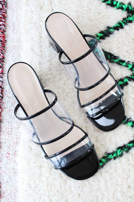 Maryam Nassir Zadeh MNZ Martina Clear Slide Patent Black