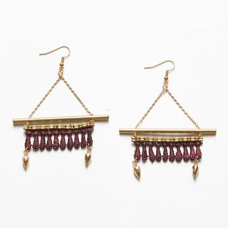 THIS ILK BOUCLES KABAK EARRINGS - BURGUNDY