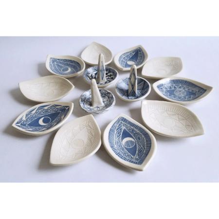 Demetria Chappo Ceramics Sgraffito Spirit Eye Dish