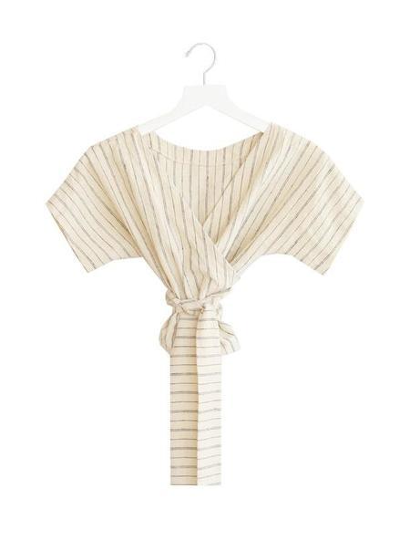 Lauren Winter Wraparound Top, Ivory Stripe
