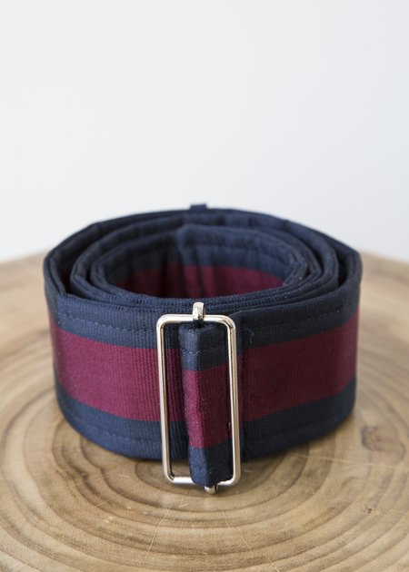Tome Silk Striped Belt with Buckle - Navy