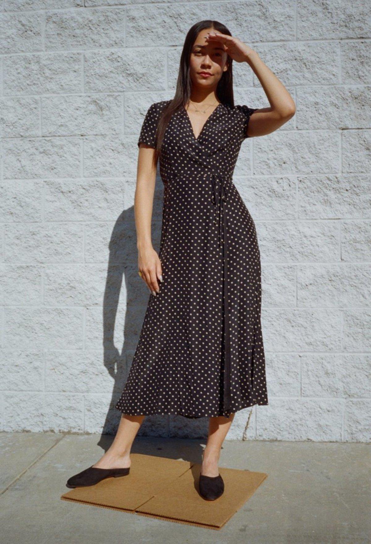 6475ae23042c Jenni Kayne Dot Charmeuse Wrap Dress   Garmentory