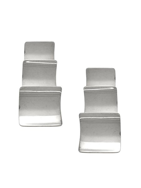 Beth Vintage Jewelry Stacked Square Earrings - Sterling Silver