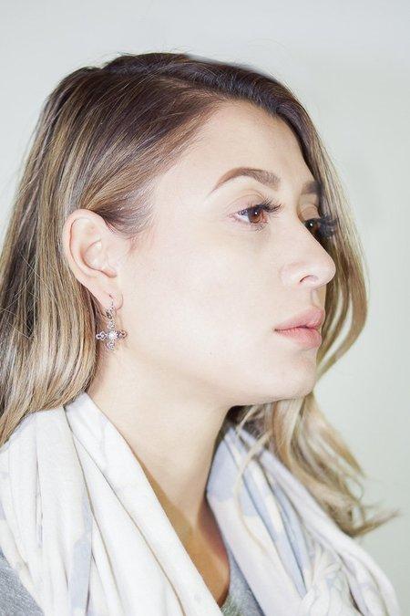 Becky Kelso Sterling Silver Pearl Cross Dangling Earrings