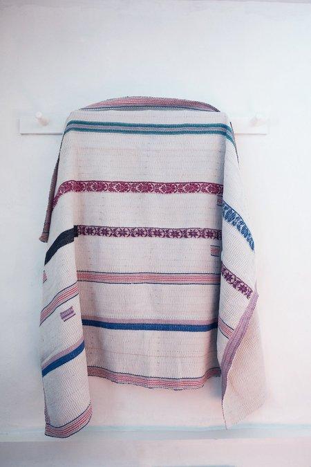 Karu Vintage Kantha Quilt with Stripes