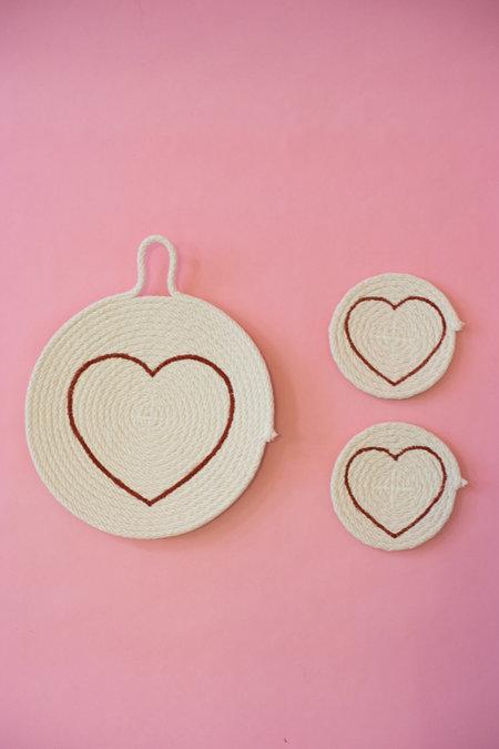 The Northern Market Valentine's Day Heart Trivet + Coaster Set