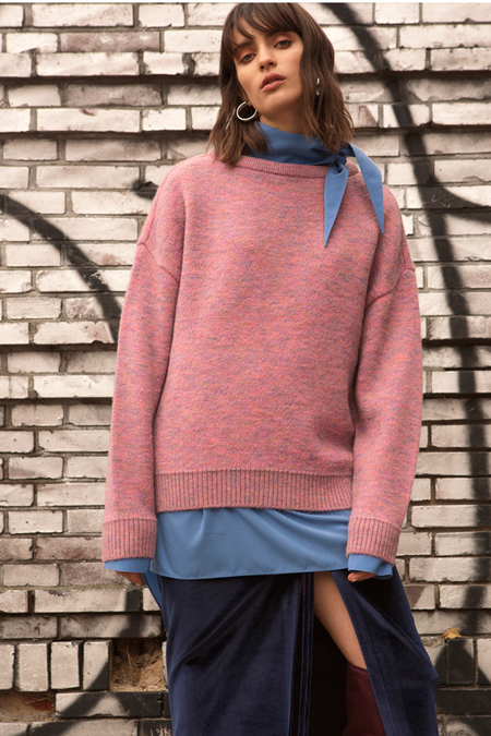 Andersson Bell Tartan Mohair Boat Neck Sweater - Pink