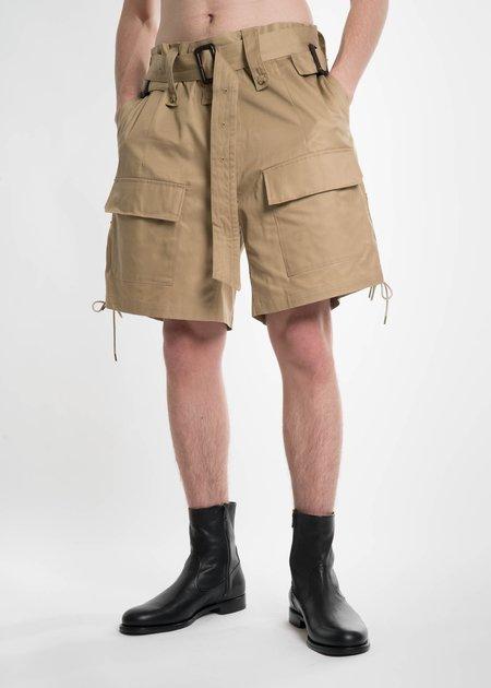 Facetasm Khaki Lace Buckle Shorts