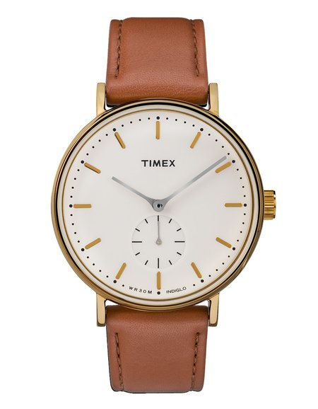 Timex Fairfield Sub-Second Watch - Gold-Tone Brown/Cream