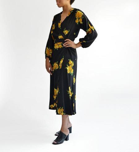 No.6 Golden Winter Floral Berta Wrap Dress