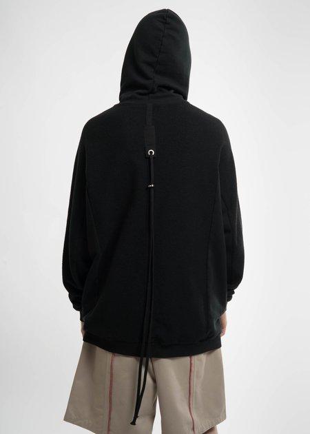 Komakino Black T Cut Inside-Out Hoodie