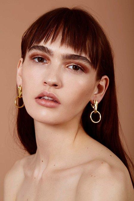 Lady Grey Hand Hoop Earrings - Gold