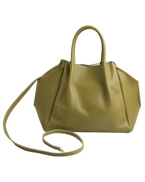 Oliveve Zoe Tote In Avocado Cameo Pebble Cow Leather