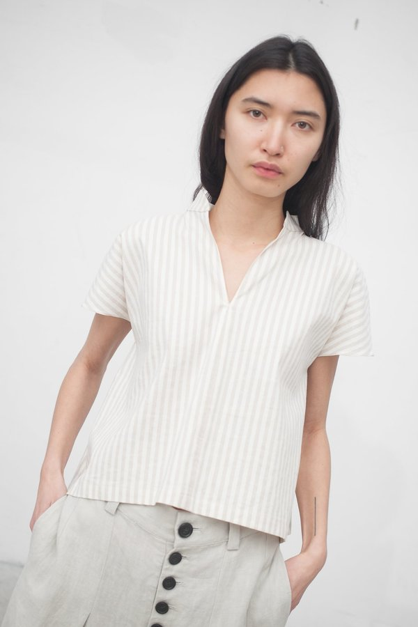 Creatures of Comfort Naomi Top in Striped Cotton Linen Sand