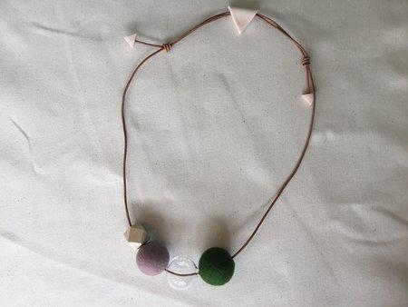 HYworks Dot Necklace - Mauve/Forest Green