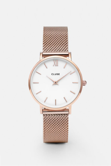 Cluse Watches Minuit Mesh - Rose Gold/White