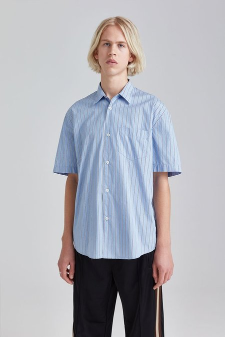 Our Legacy Initial Short Sleeve Shirt - Blue Navy Stripe