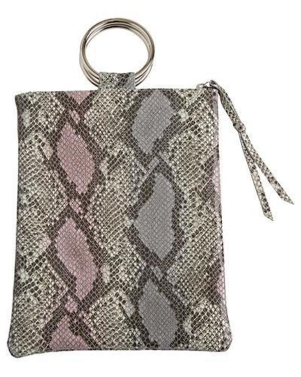 Oliveve Laine Silver Ring Bag in Pink Cobra Cow Leather