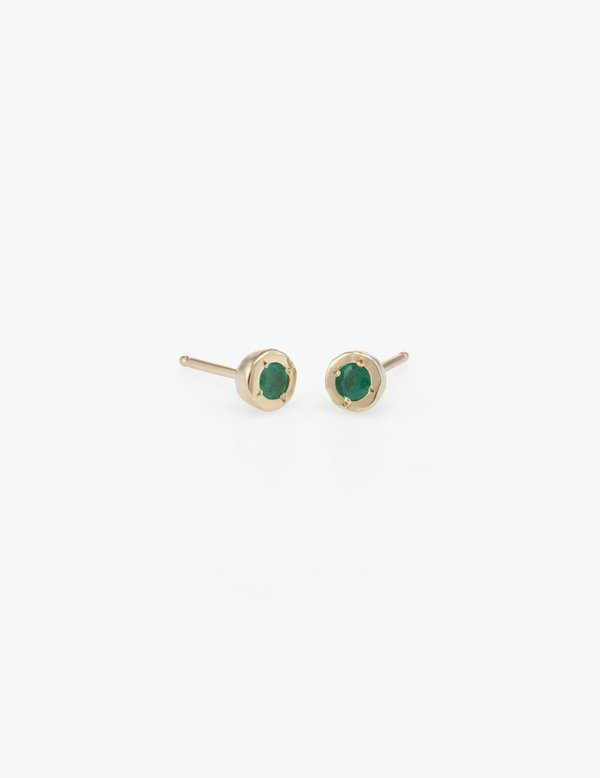 Kathryn Bentley Tiny Dot Studs in Emerald