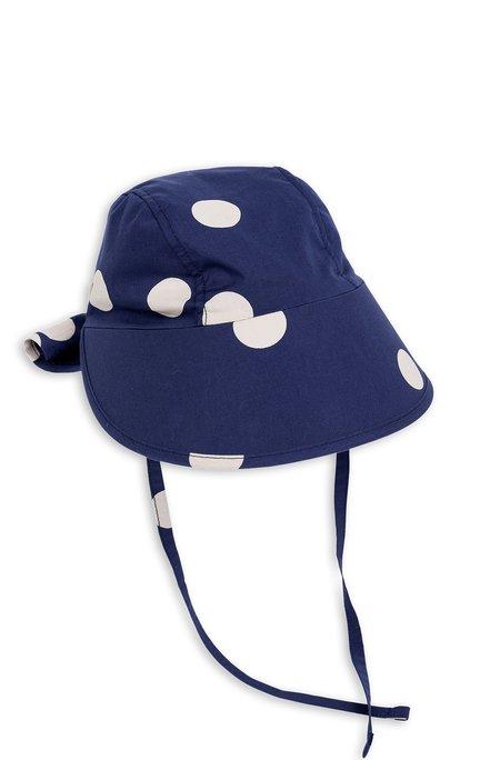 Kids Mini Rodini Dot Sun Cap - Navy