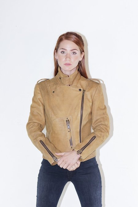 SNACKU Leather Rider Jacket in Pecan Brown