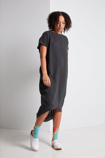 Black Crane Pleated Cocoon Dress - Green Black