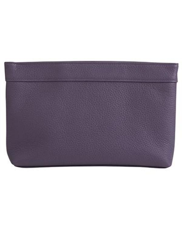 Oliveve Lola Frame Clutch in Blackberry Pebbled Cow Leather