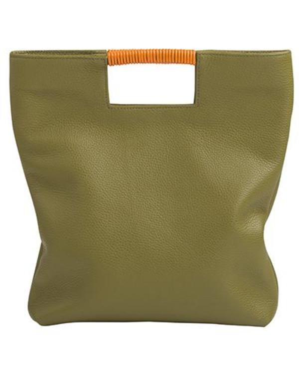 Oliveve Reid Wrap Handle Tote in Avocado Pebble Leather