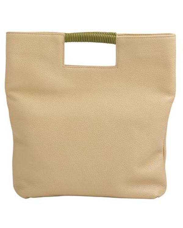 Oliveve Reid Wrap Handle Tote in Sand Pebble Leather