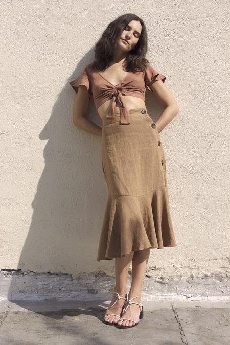 Ajaie Alaie Bonita Skirt  in Light Linen In Melao
