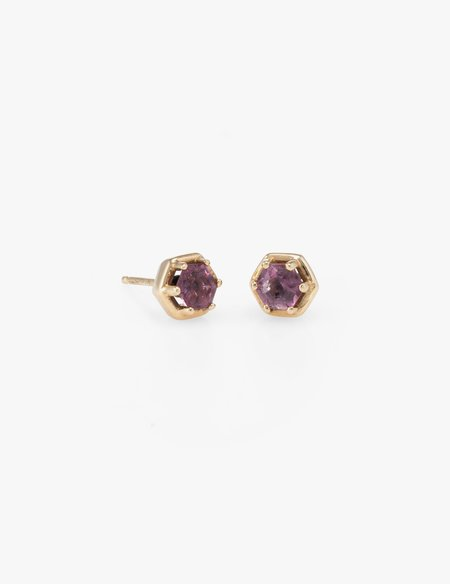 Kathryn Bentley Hexagon Studs in Pink Tourmaline