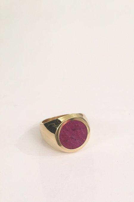 Legier Brass Ruby Signet Ring - Round