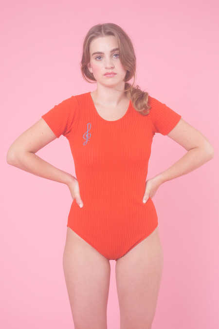 Samantha Pleet Treble Bodysuit in Scarlet