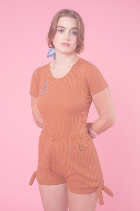 Samantha Pleet Treble Bodysuit in Clay