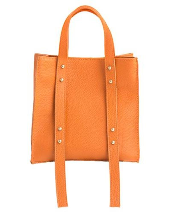 Oliveve Keira Convertible Strap Tote in Papaya Pebbled Leather