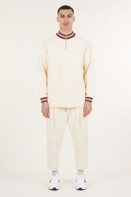 Drole De Monsieur Striped Raglan Zip Top - Beige