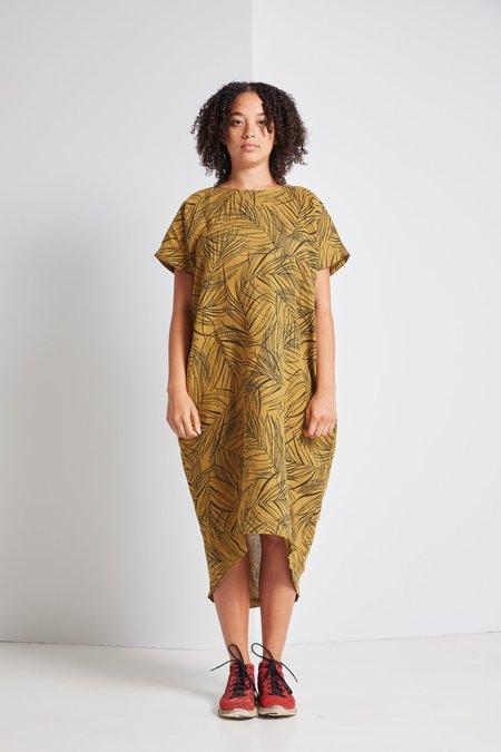 Black Crane Pleated Cocoon Dress in Leaf
