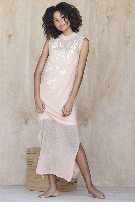 Callahan Embroidered Floral Column Dress - Peach