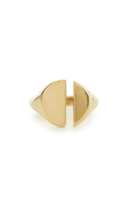 Bing Bang NYC Black Label Divided Signet Ring Gold