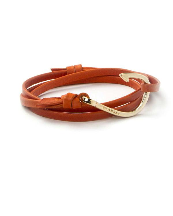 Miansai Gold Fish Hook and Orange Leather Wrap Bracelet