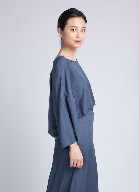 KAAREM Can Dropped Sleeve Cropped Top - Blue